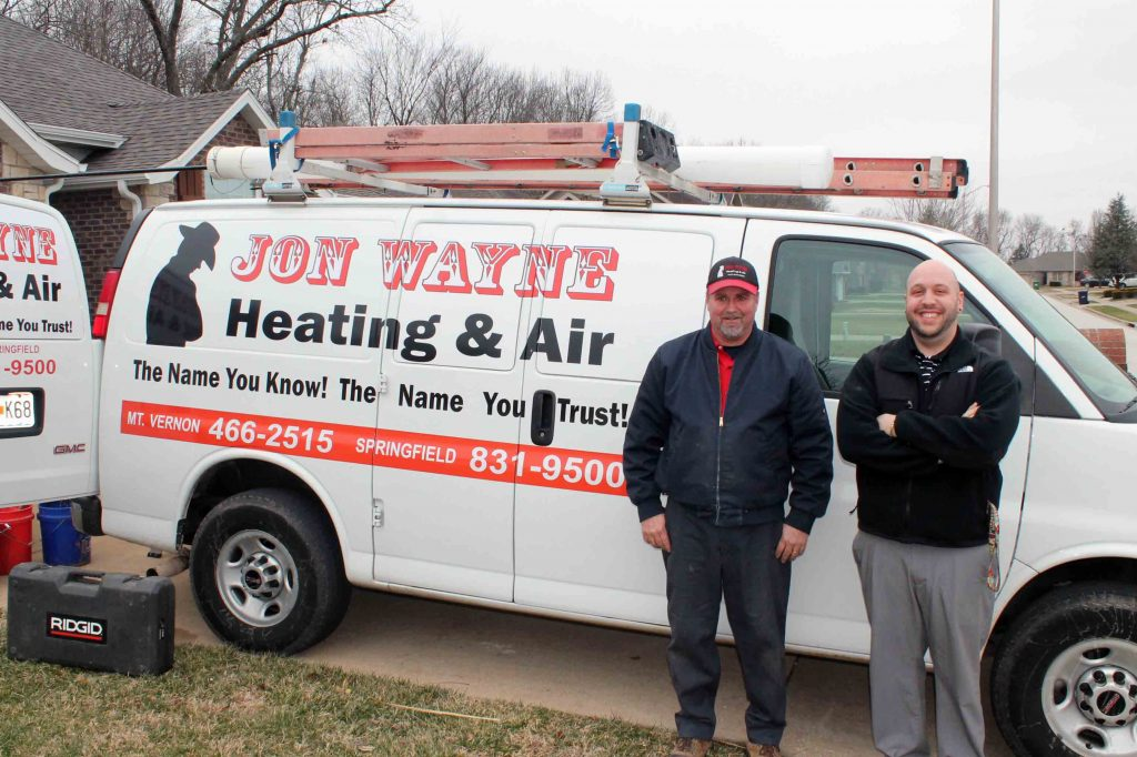 Jon Wayne Heating & Air HVAC truck outside Springfield home for a new furnace installation