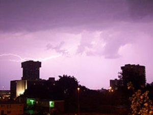 Lightning strike over downtown Springfield, MO