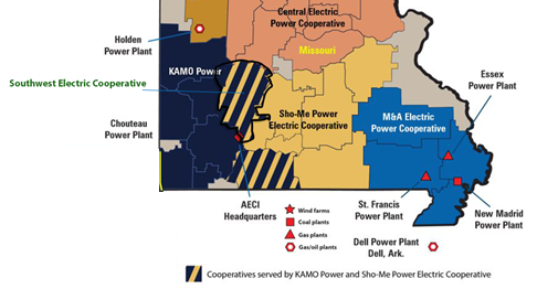 Map of available energy sources for Missouri communities