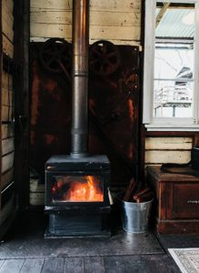 Old fashioned wood fired heating unit