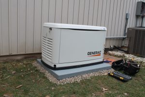 Old Generac AC condenser in Mt Vernon being repaired by Jon Wayne heating & Air Conditioning